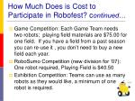 how much does is cost to participate in robofest c ontinued