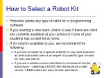 how to select a robot kit