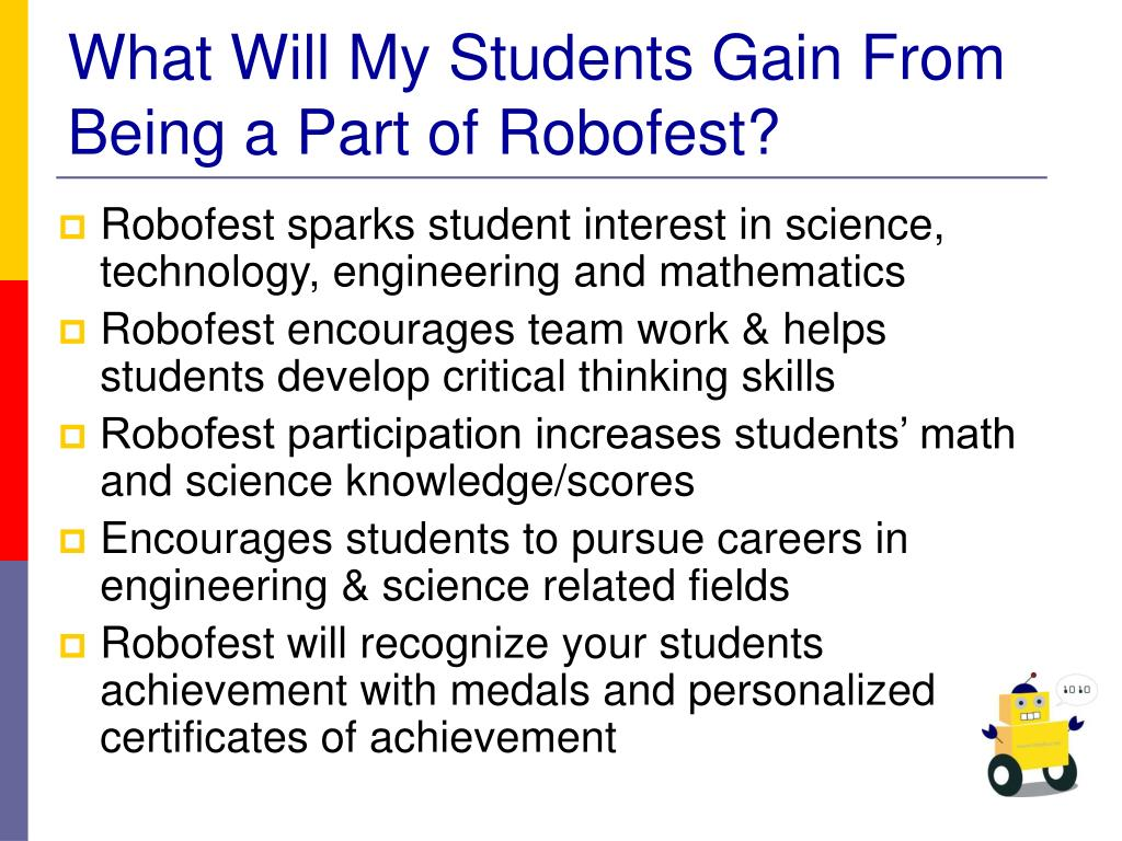 What Will My Students Gain From Being a Part of Robofest?
