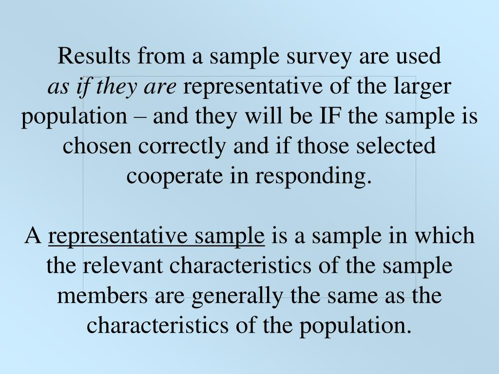 Results from a sample survey are used
