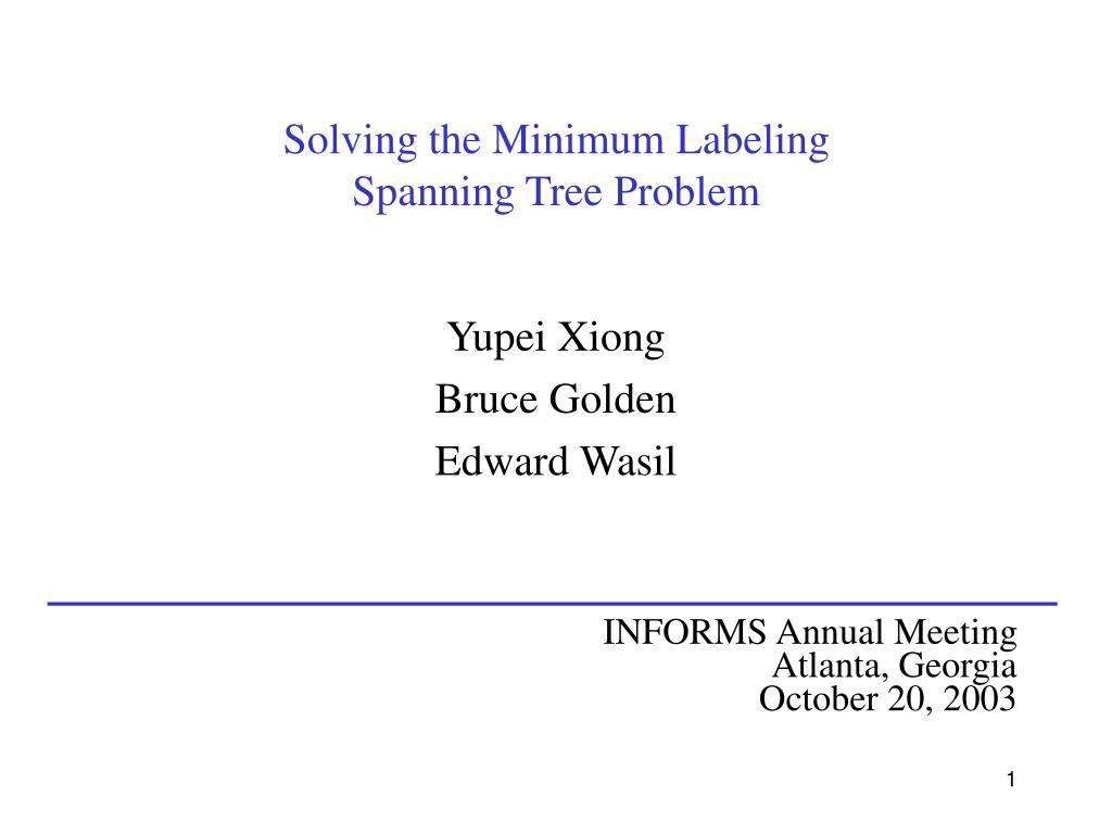solving the minimum labeling spanning tree problem l.