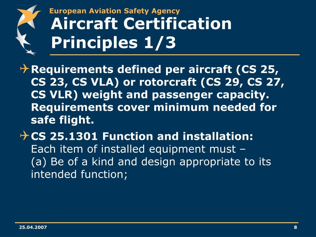 Aircraft Certification Principles 1/3