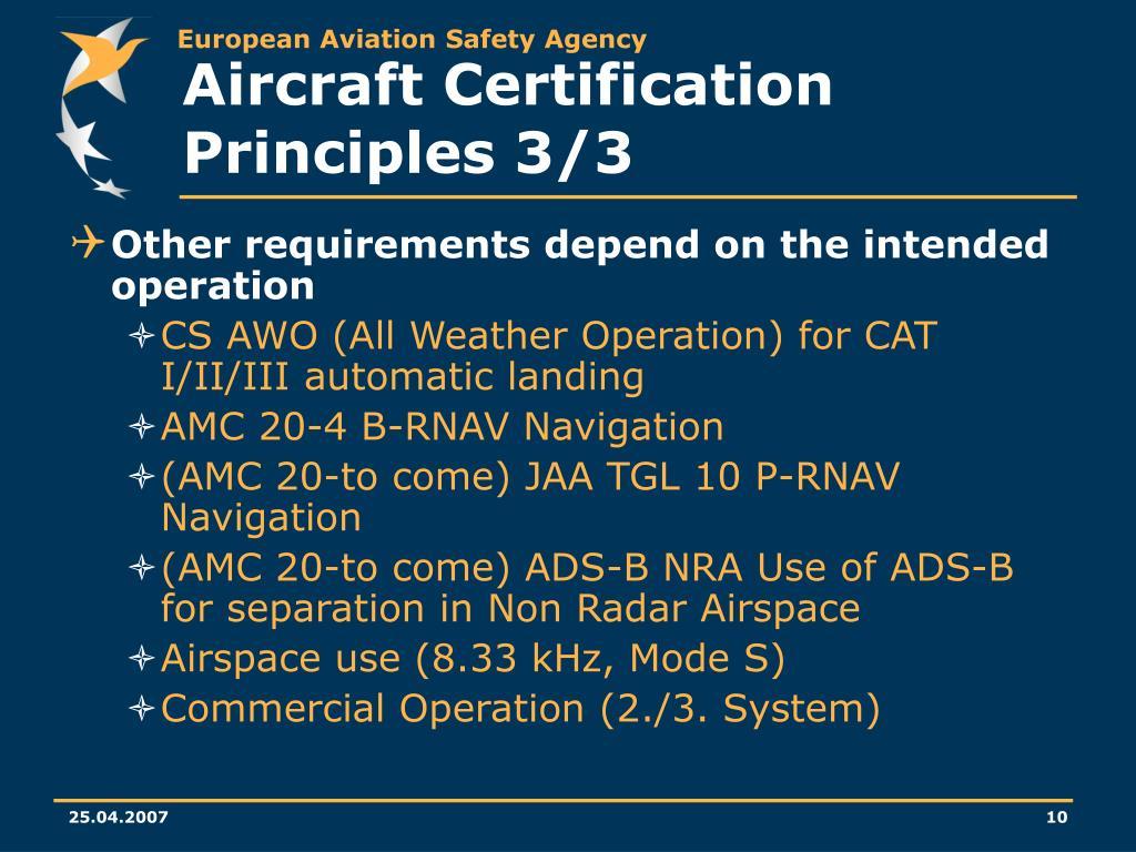 Aircraft Certification Principles 3/3