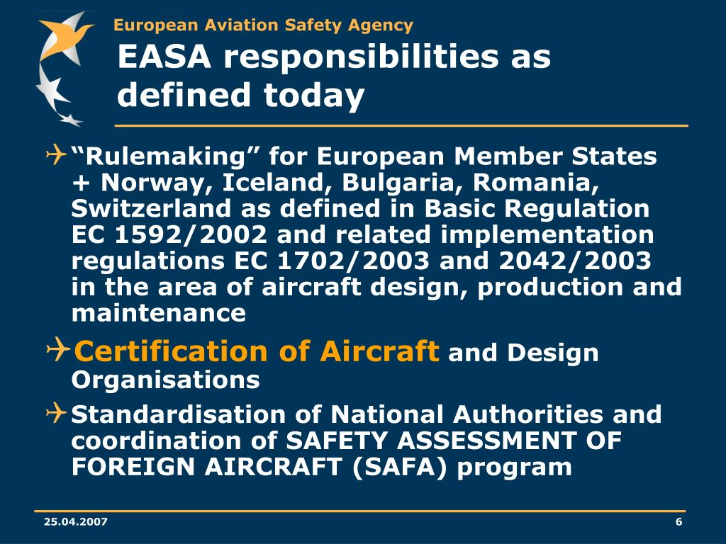 EASA responsibilities as defined today
