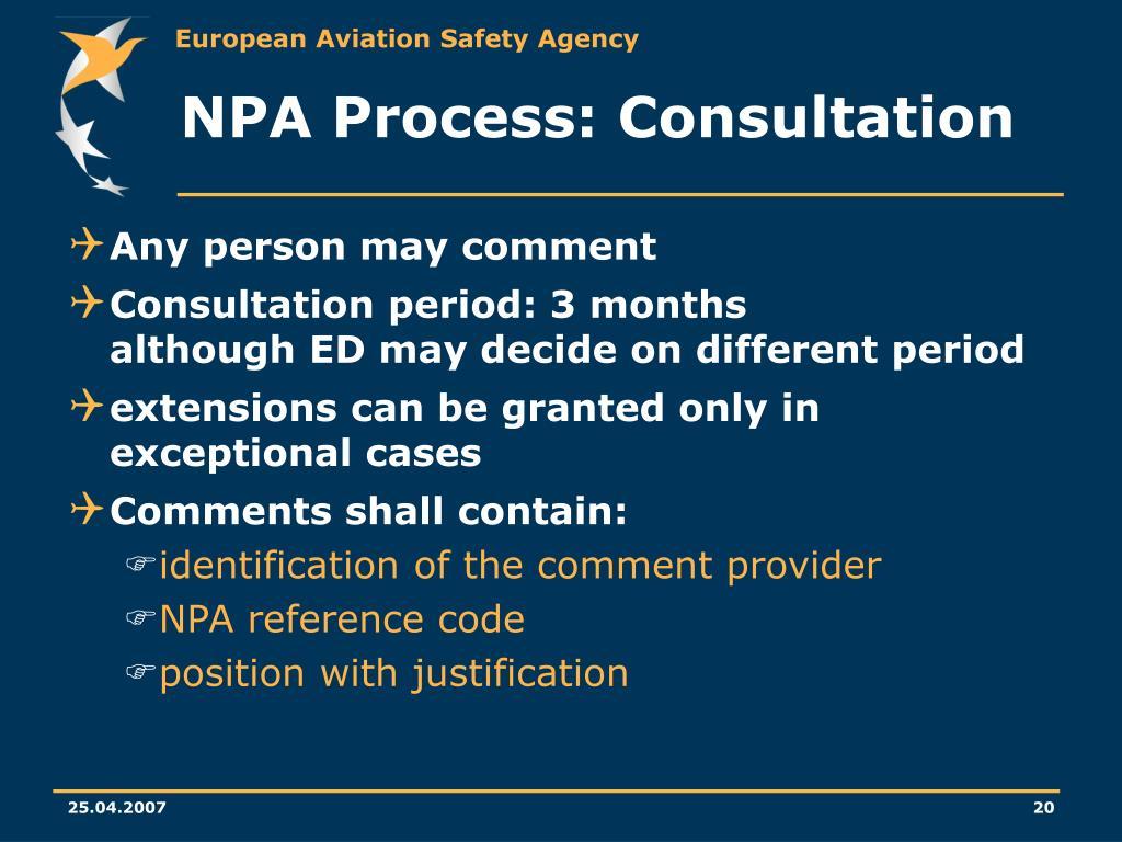 NPA Process: Consultation
