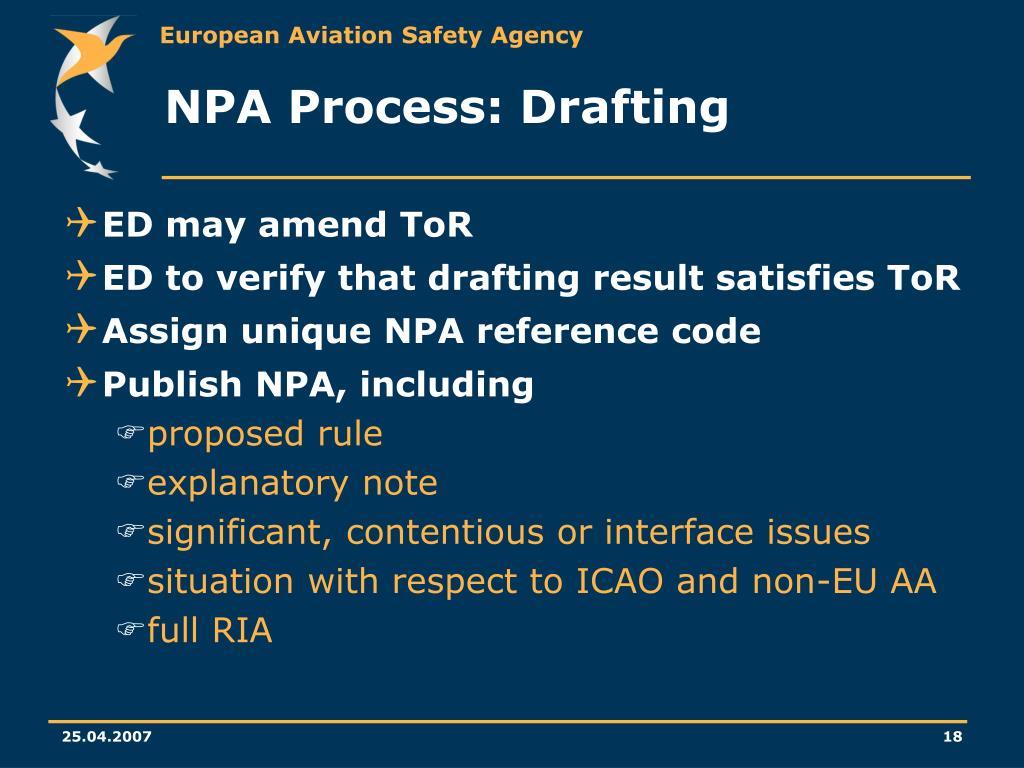 NPA Process: Drafting