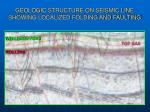 geologic structure on seismic line showing localized folding and faulting