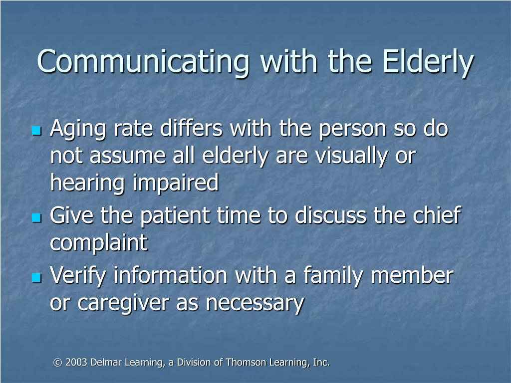 Communicating with the Elderly