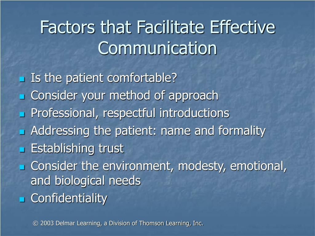 Factors that Facilitate Effective Communication