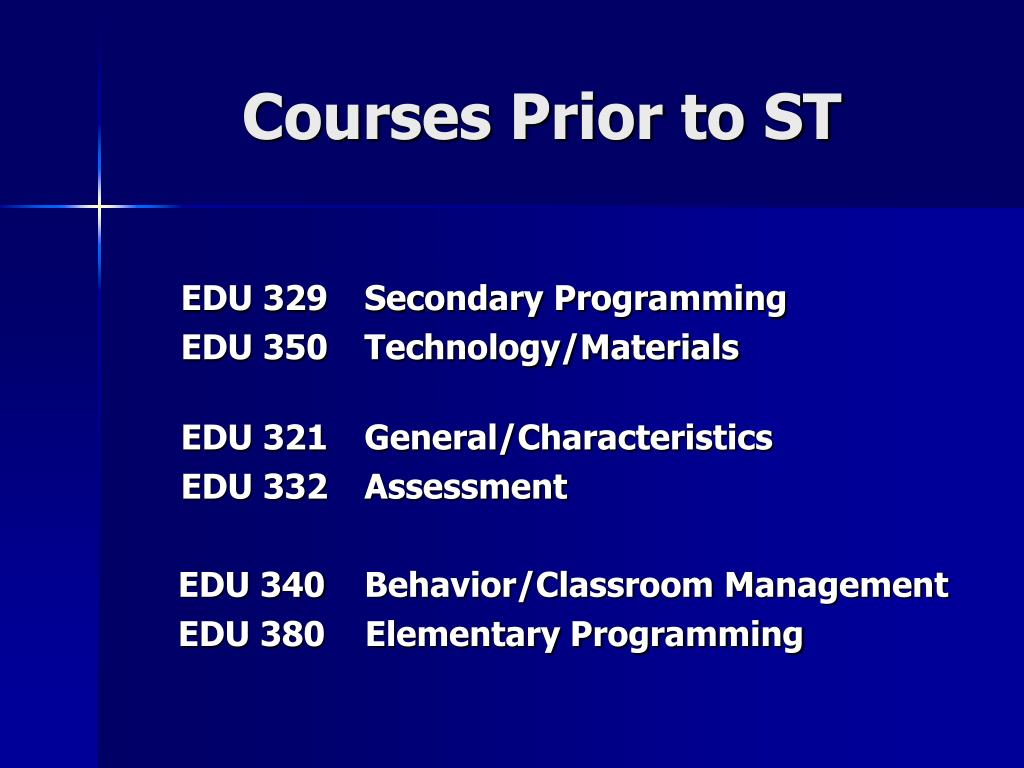 Courses Prior to ST