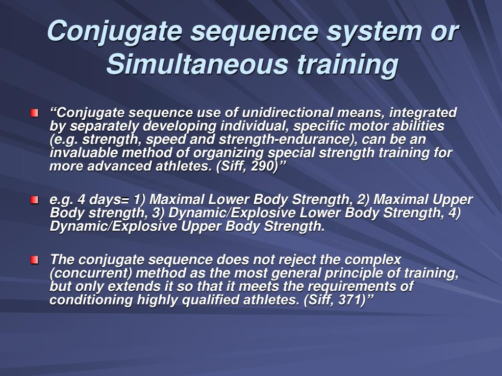 Conjugate sequence system or Simultaneous training