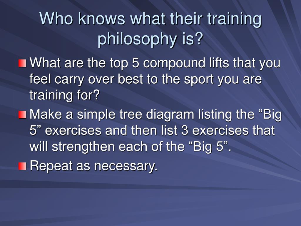 Who knows what their training philosophy is?