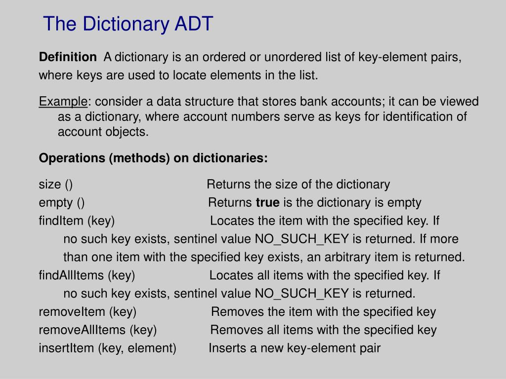 the dictionary adt l.