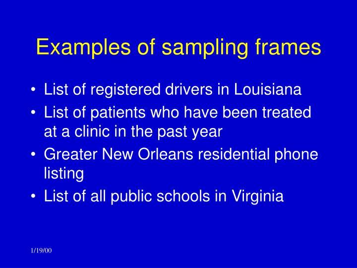 Examples of sampling frames