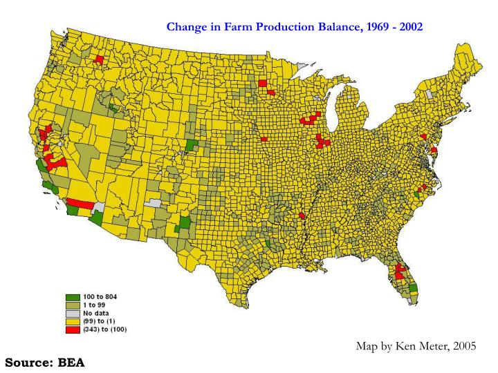 Change in Farm Production Balance, 1969 - 2002