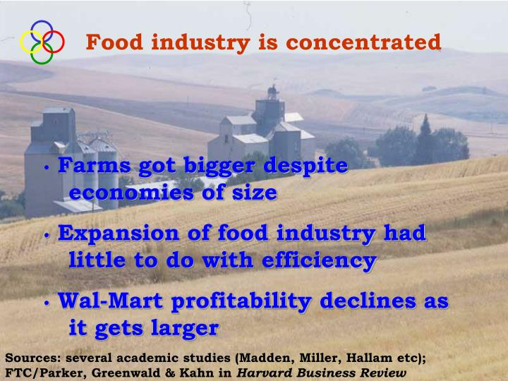 Food industry is concentrated