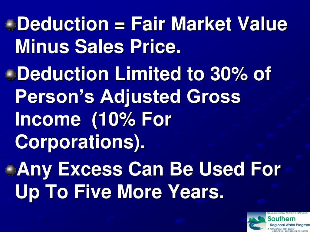 Deduction = Fair Market Value Minus Sales Price.