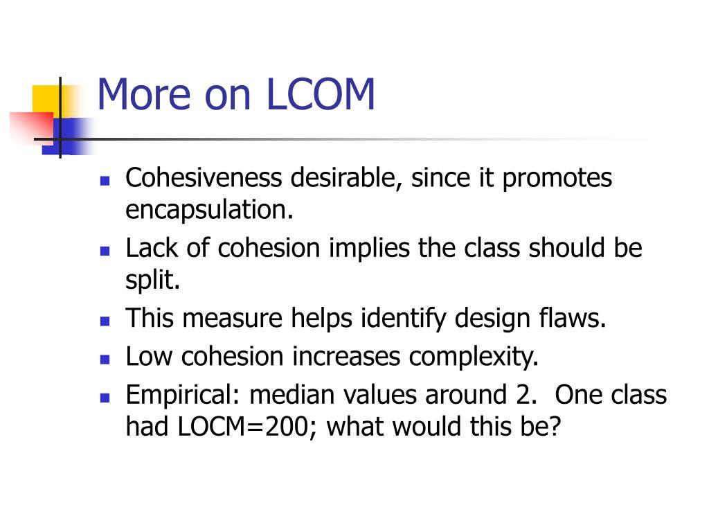 More on LCOM