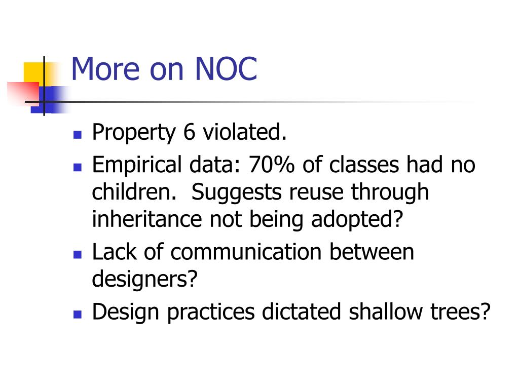 More on NOC