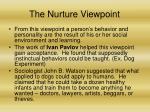 the nurture viewpoint