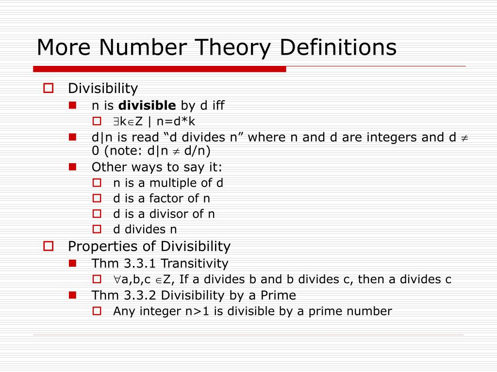 More Number Theory Definitions