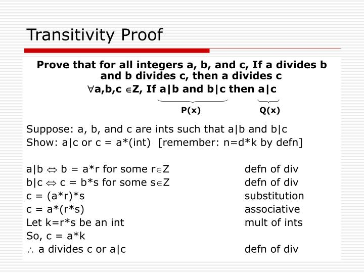 Transitivity proof