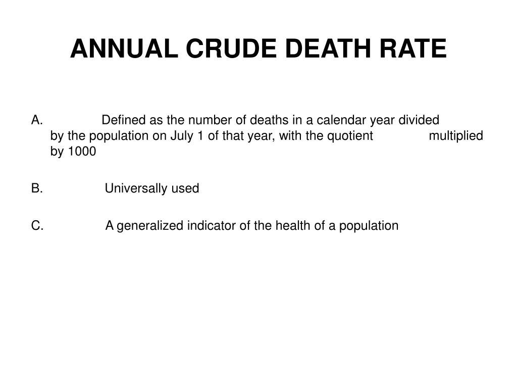 ANNUAL CRUDE DEATH RATE