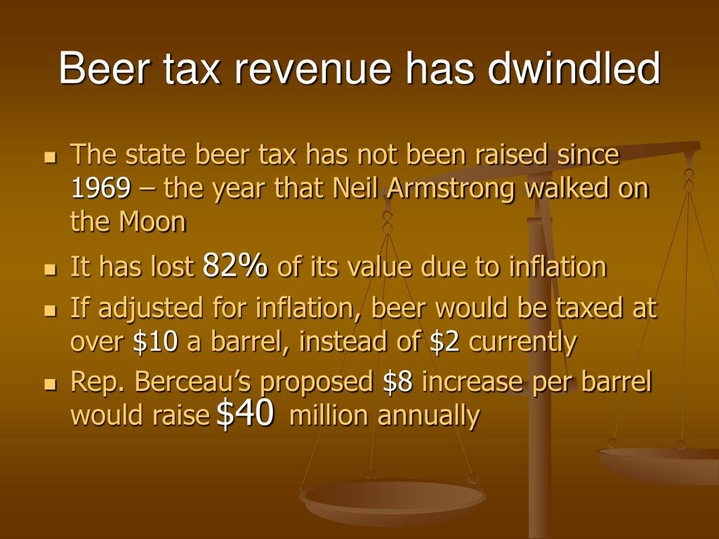 Beer tax revenue has dwindled