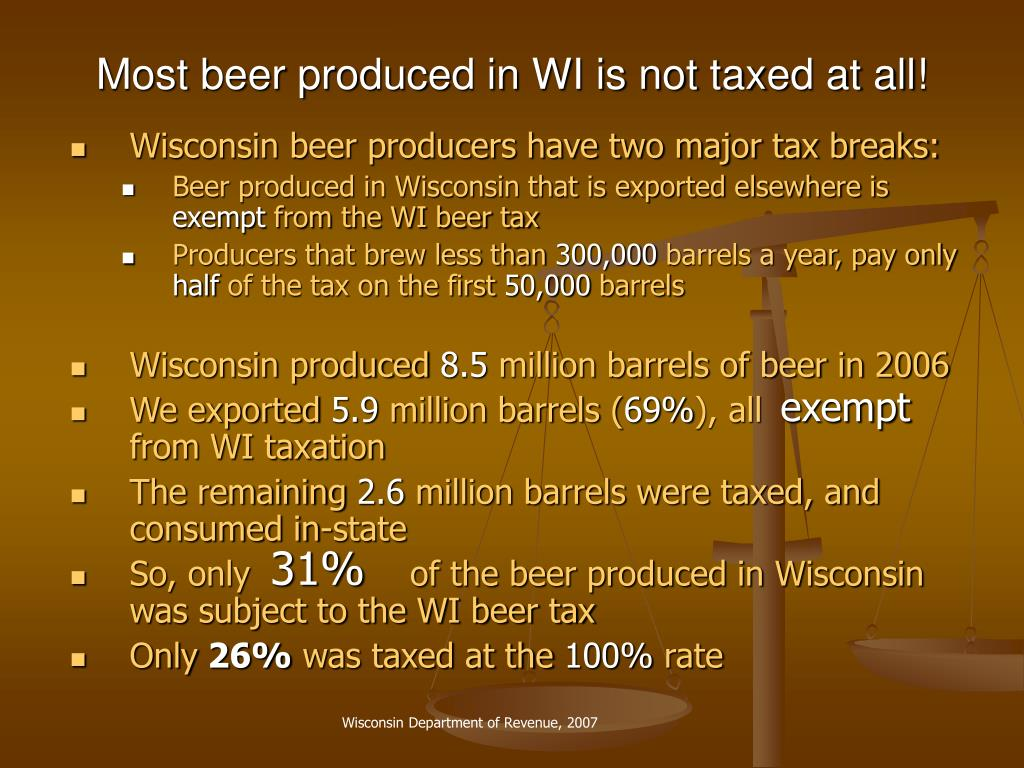 Most beer produced in WI is not taxed at all!