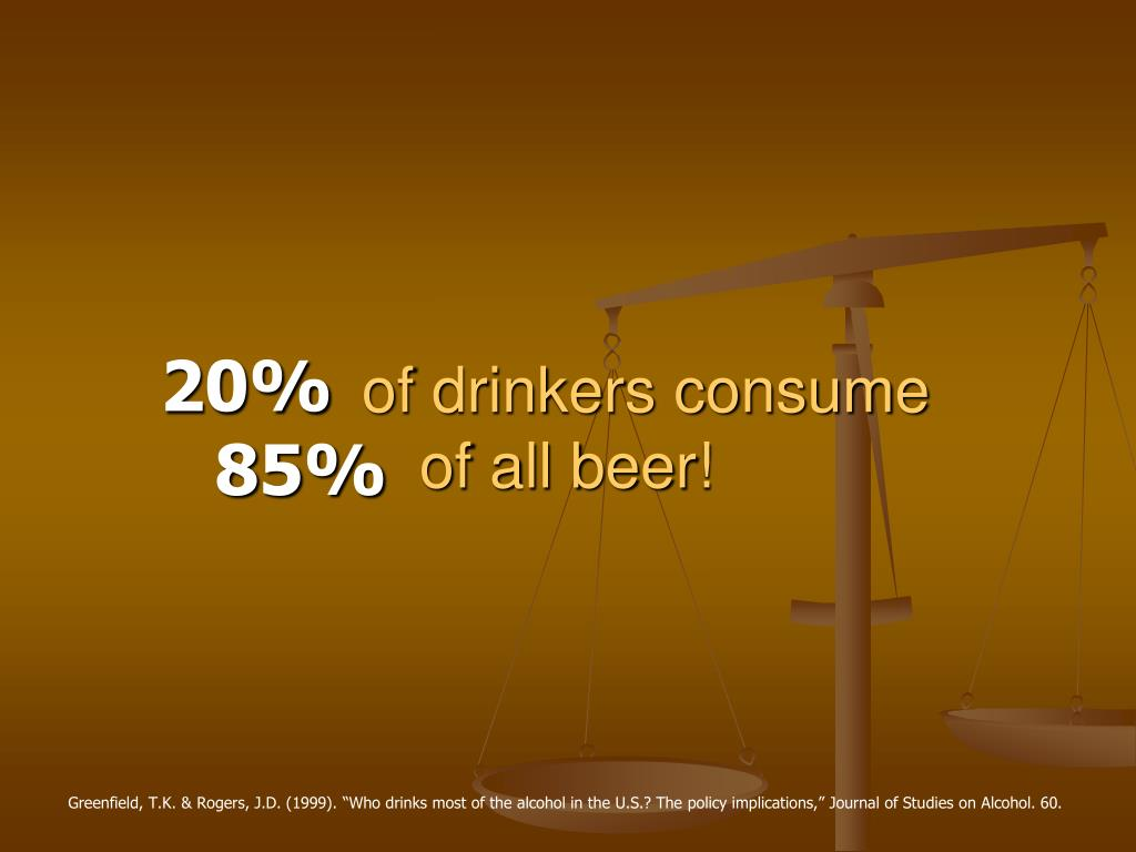 of drinkers consume             of all beer!