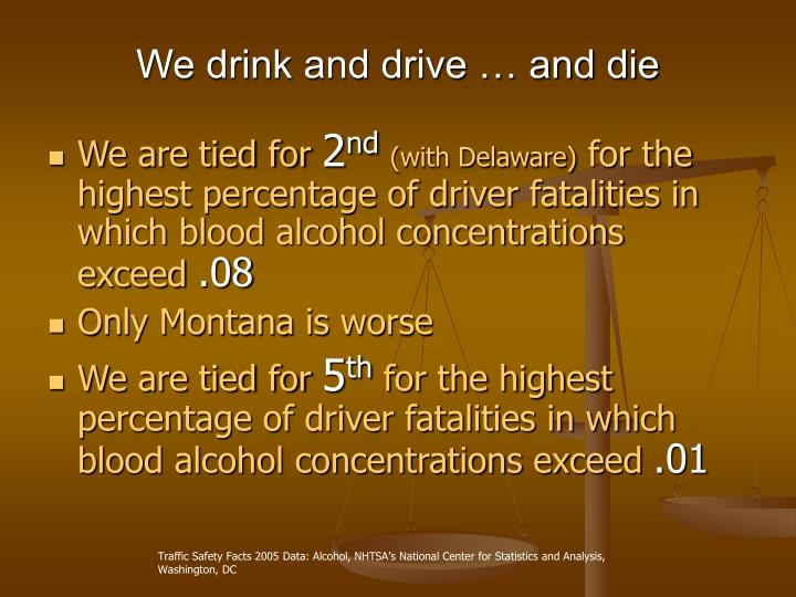 We drink and drive and die