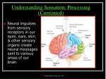 understanding sensation processing continued