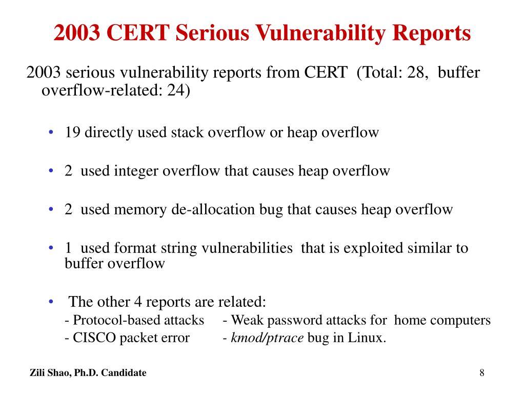 2003 CERT Serious Vulnerability Reports