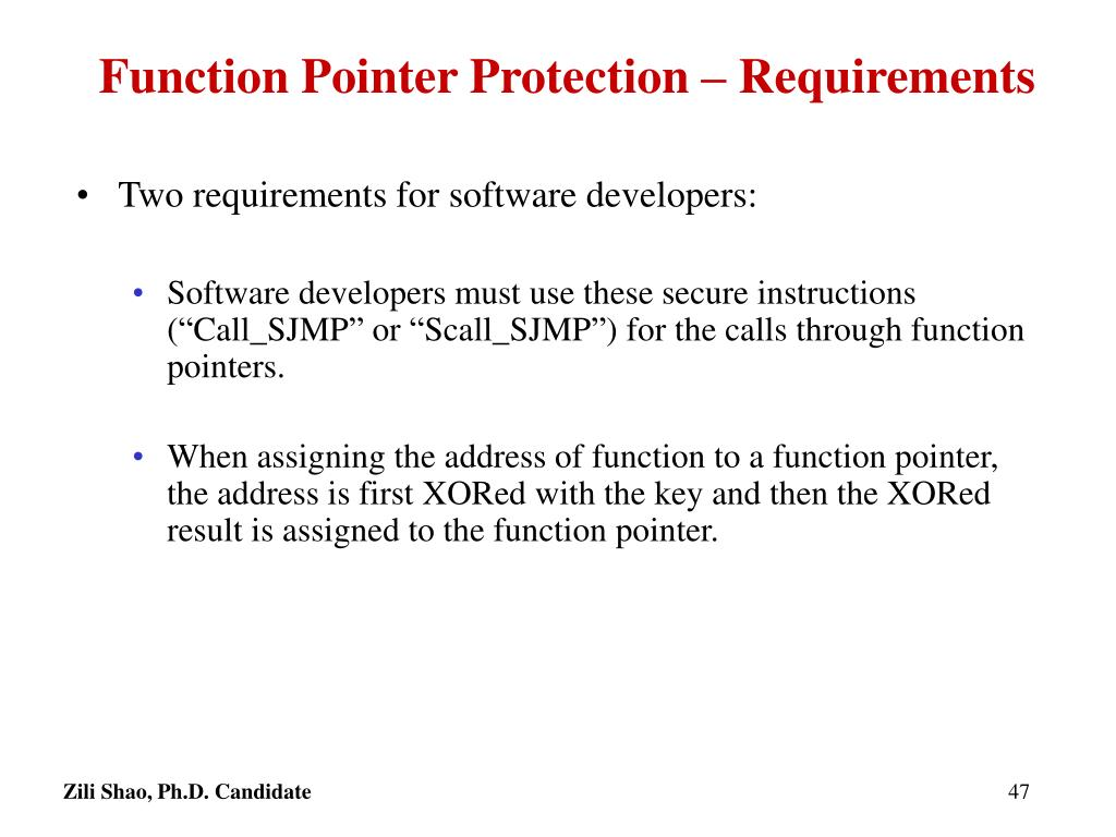 Function Pointer Protection – Requirements