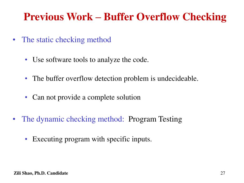Previous Work – Buffer Overflow Checking