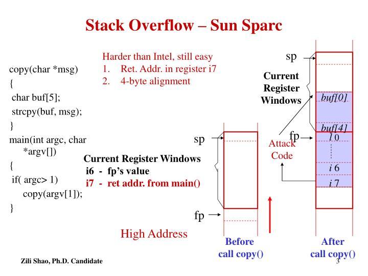 Stack overflow sun sparc