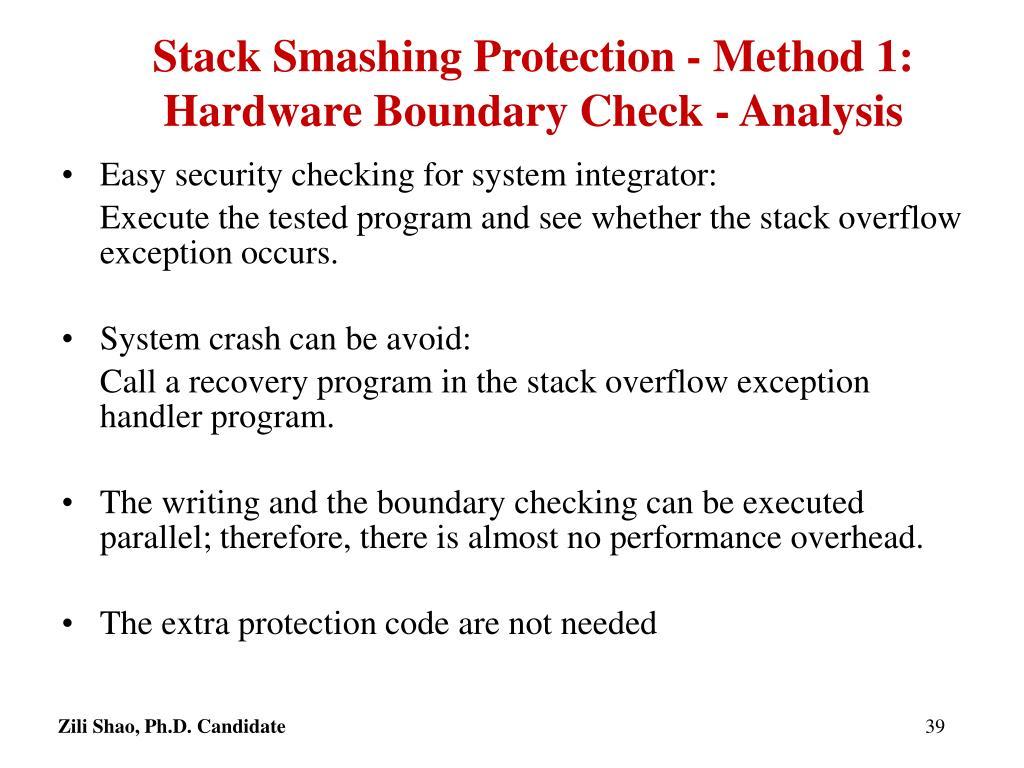 Stack Smashing Protection - Method 1: Hardware Boundary Check - Analysis