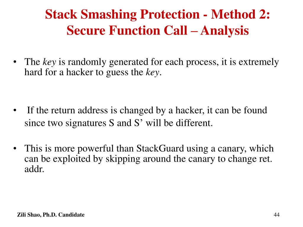 Stack Smashing Protection - Method 2: Secure Function Call – Analysis