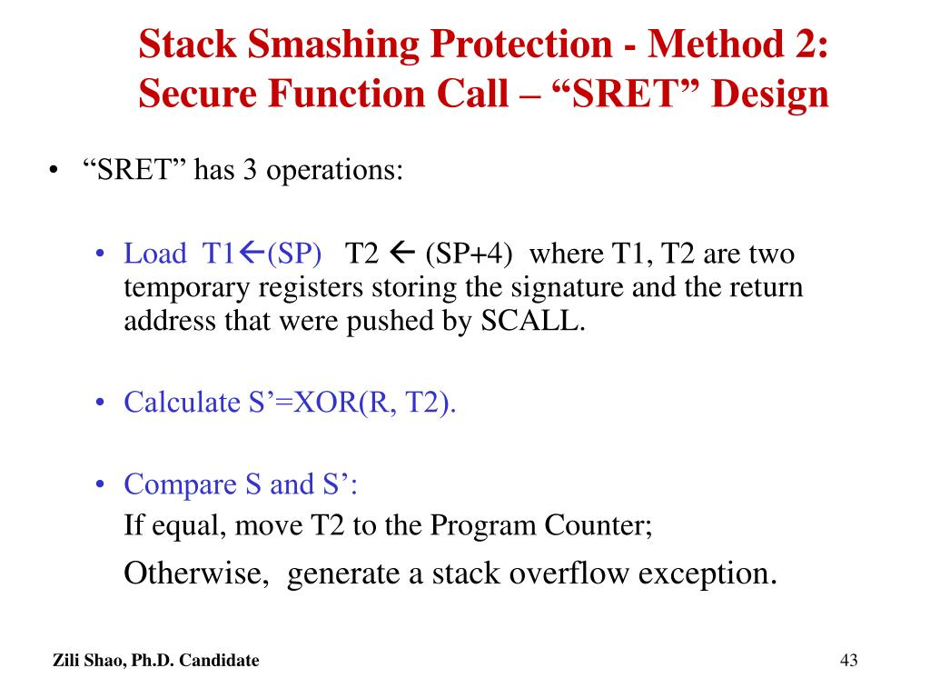 "Stack Smashing Protection - Method 2: Secure Function Call – ""SRET"" Design"