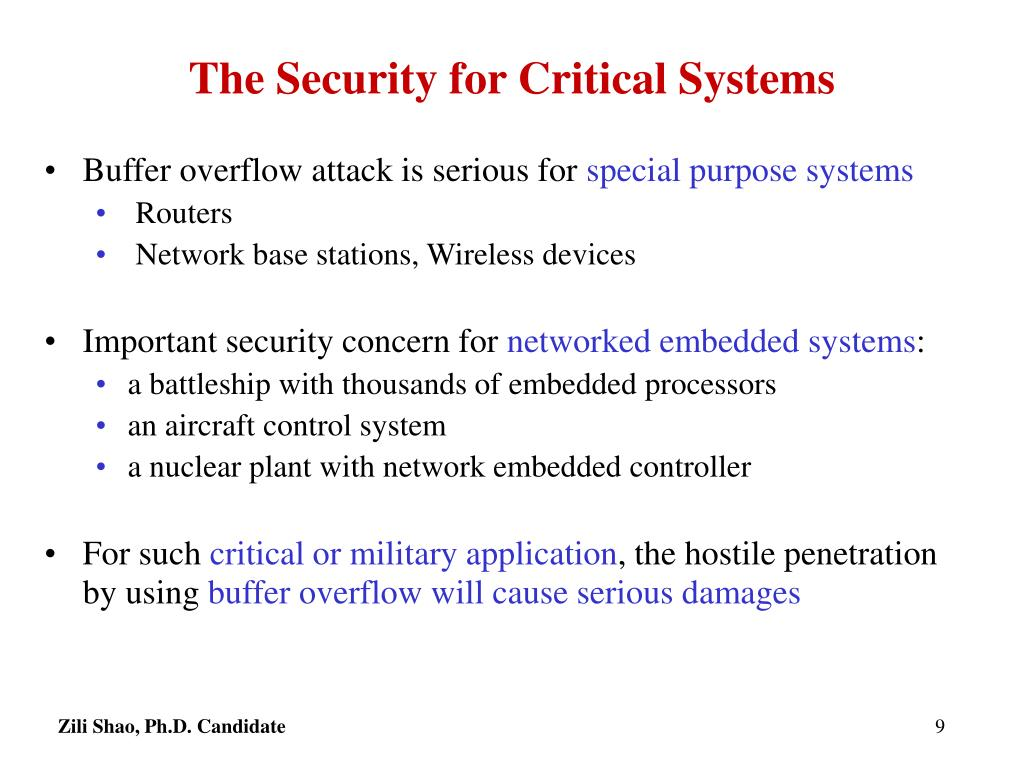 The Security for Critical Systems