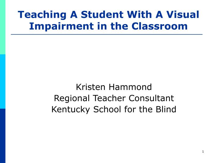 teaching a student with a visual impairment in the classroom n.