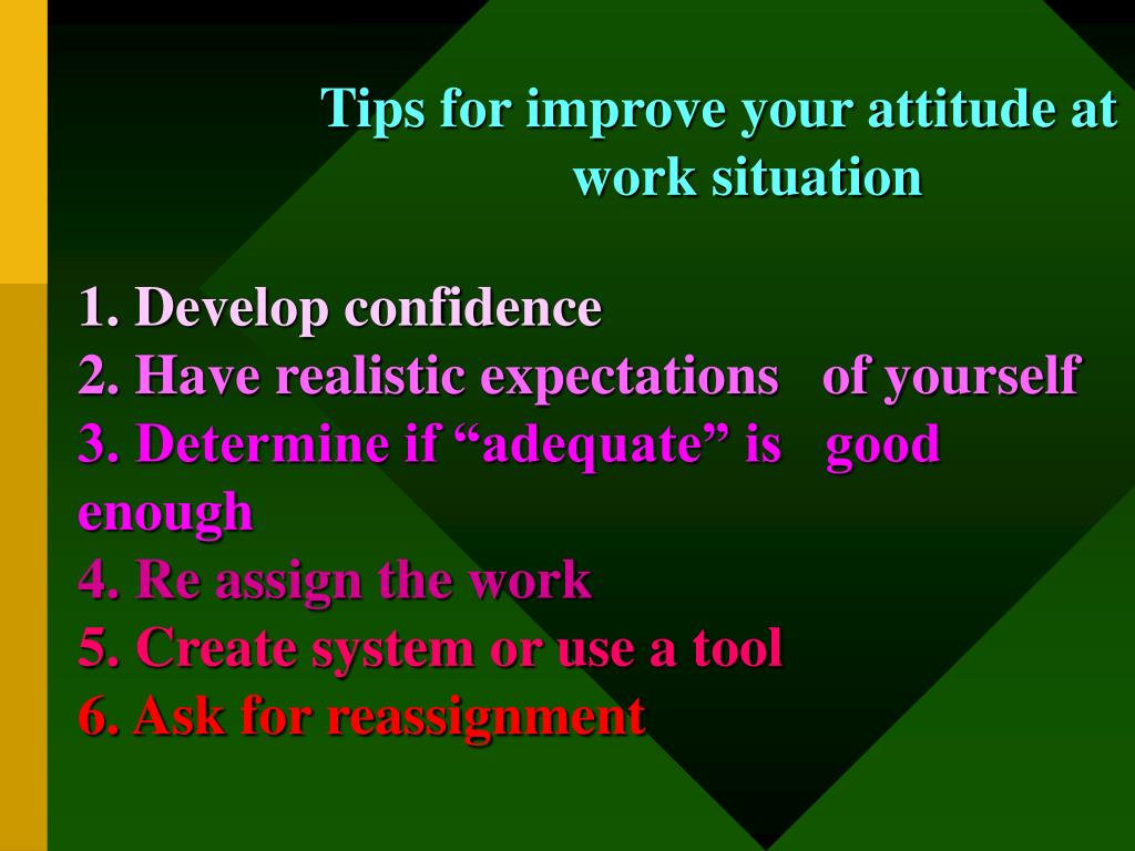 Tips for improve your attitude at work situation