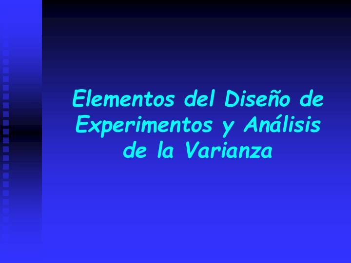 elementos del dise o de experimentos y an lisis de la varianza n.