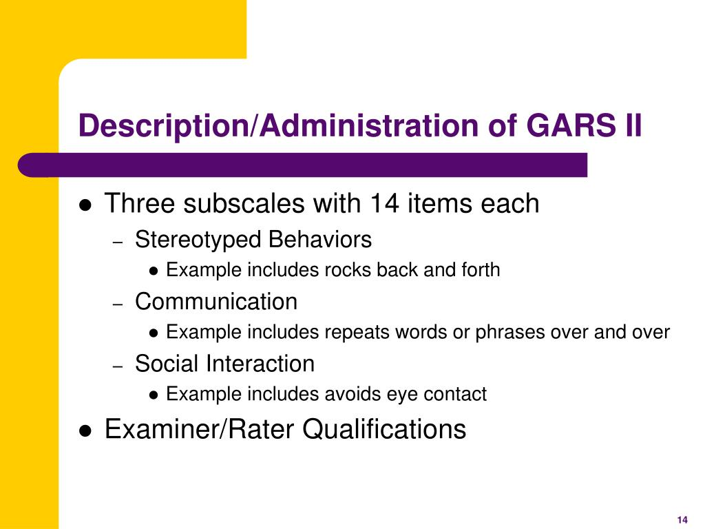 Description/Administration of GARS II