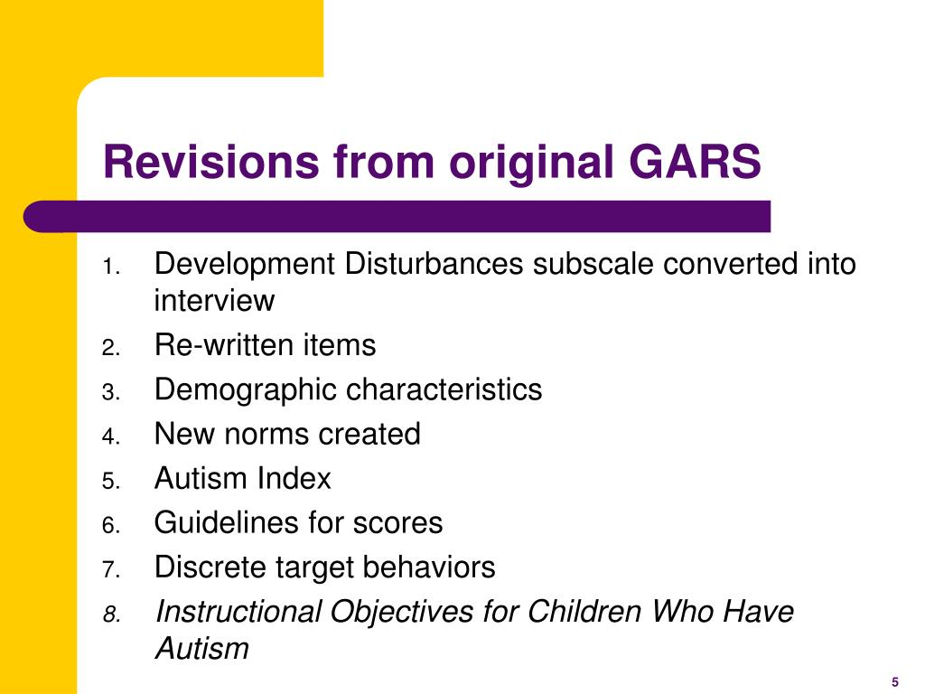 Revisions from original GARS