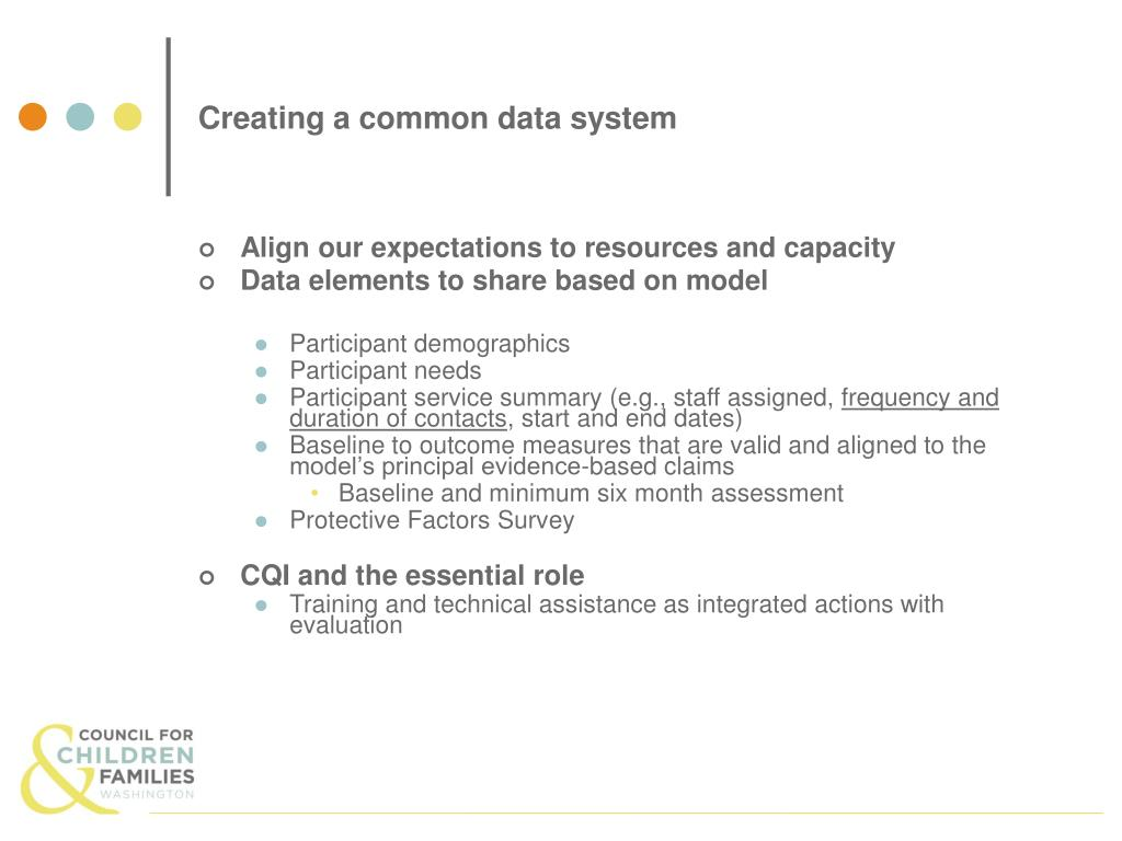 Creating a common data system