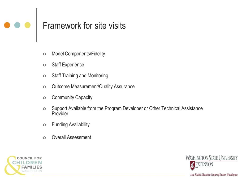 Framework for site visits