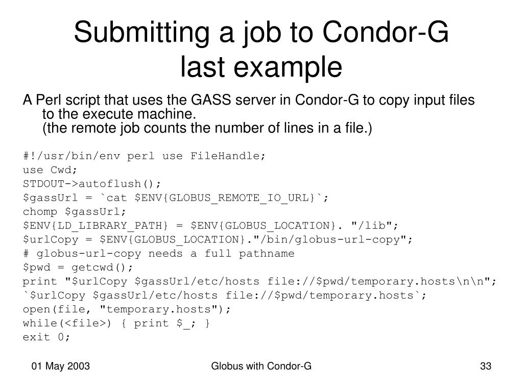 Submitting a job to Condor-G