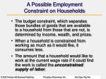 a possible employment constraint on households