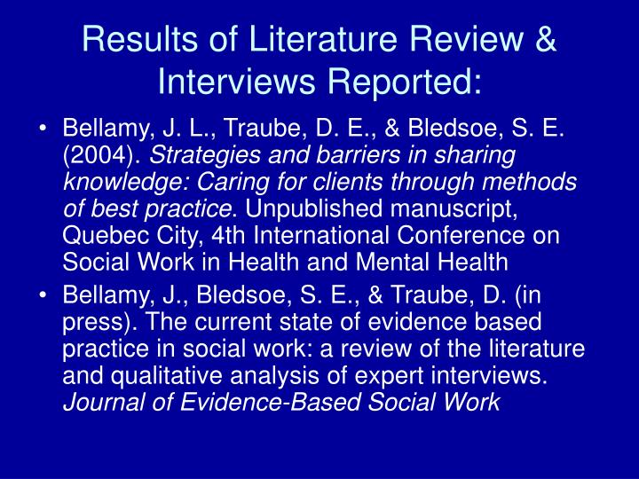 "literature review strategy for evidence based practice ebp The term ""evidence-based practice"" (ebp) has become ubiquitous in physical   strategies research ebmwg, 1999 mixed combination literature review."